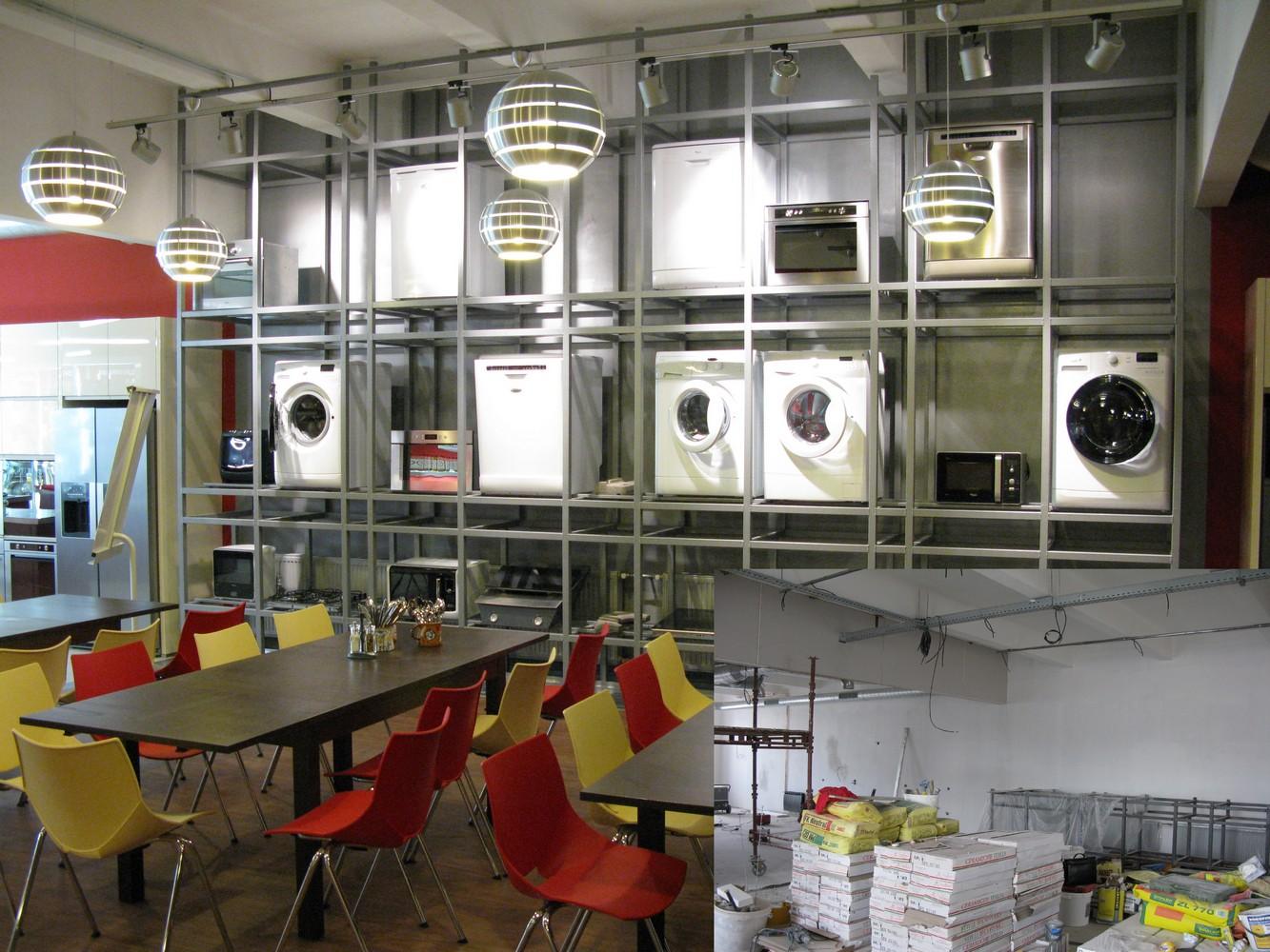zámečnické práce - regál na výrobky Whirlpool