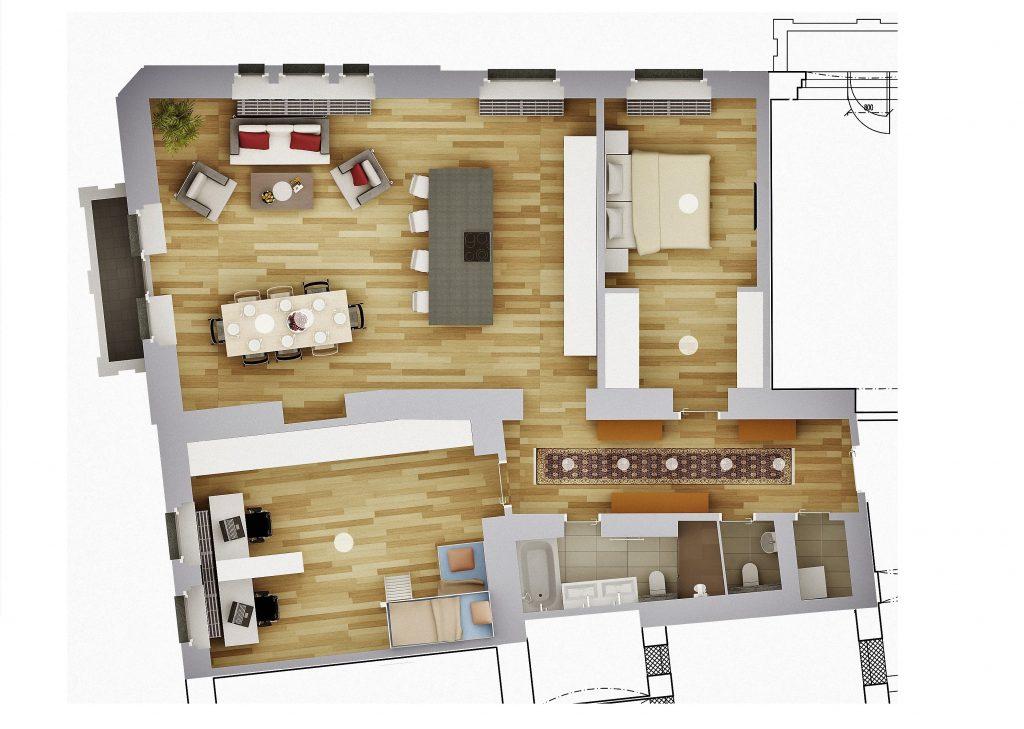 rekonstrukce bytu - půdorys vizualizace