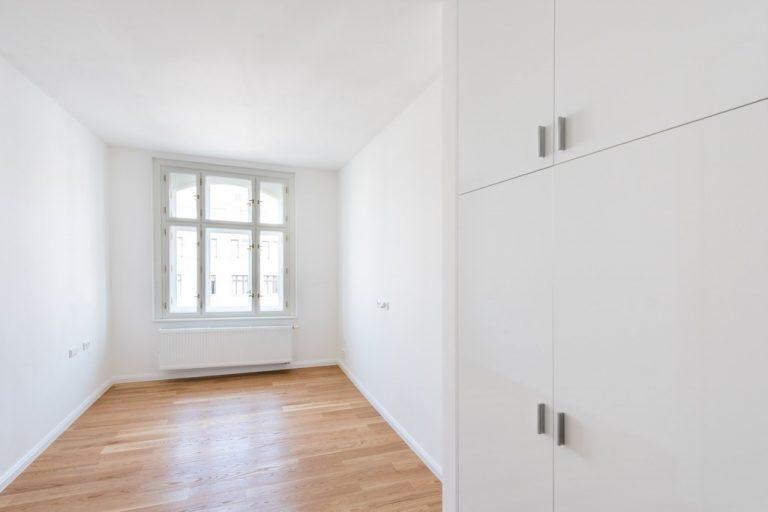 prostor ložnice bytu po rekonstrukci