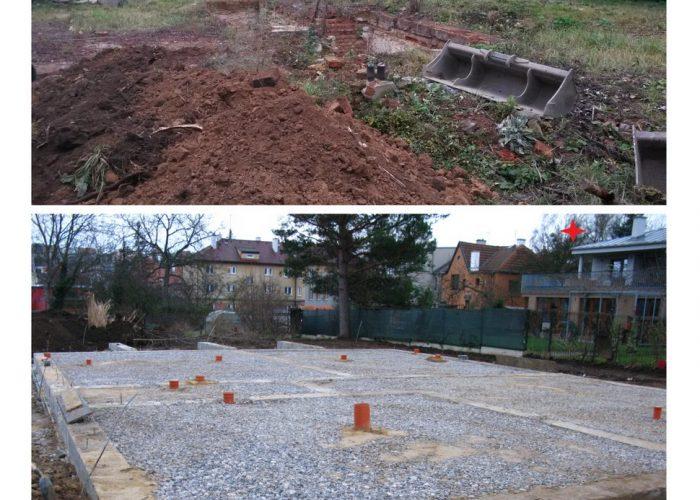 založení stavby rodinného domu původní stav a provedené základy rodinného domu