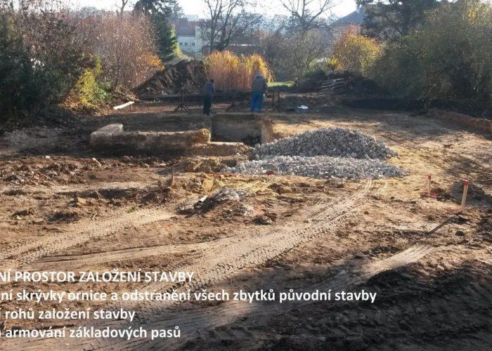 založení stavby rodinného domu zemní práce a zasypávání sklepu
